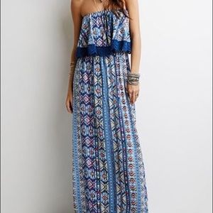 Forever 21 layered southwestern maxi print dress S